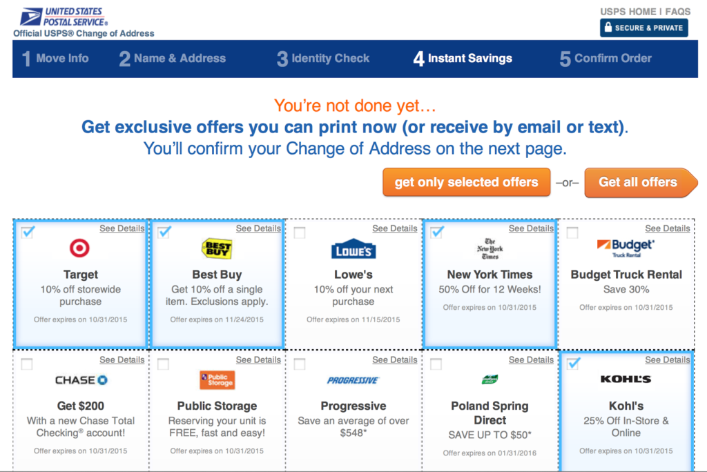USPS Change of Address Online Coupons