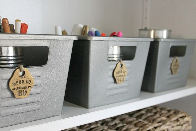 DIY Dollar Store Decor - Vintage Locker Bins
