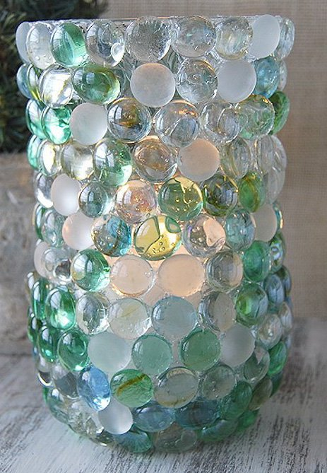 DIY Dollar Store Glass Marble Vase